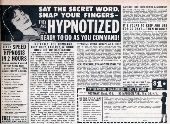 comic book ad - hypnosis
